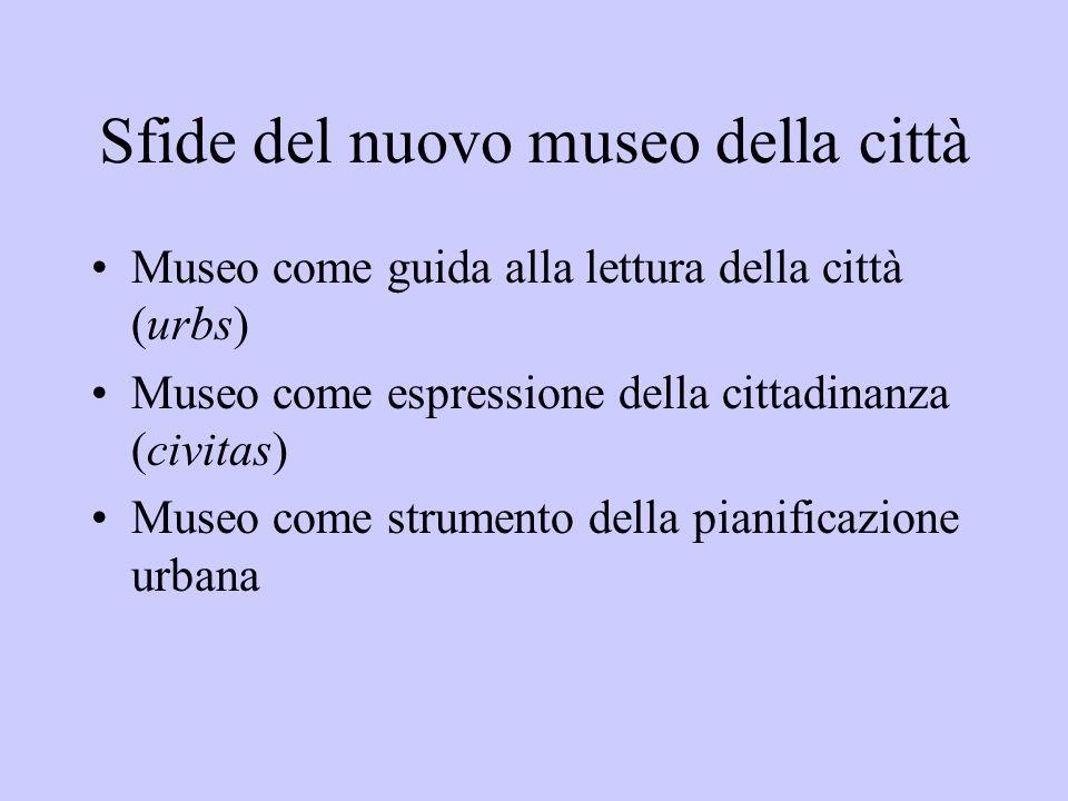 Sfide del nuovo museo della città Museo come guida alla lettura della città (urbs) Museo come espressione della cittadinanza (civitas) Museo come stru