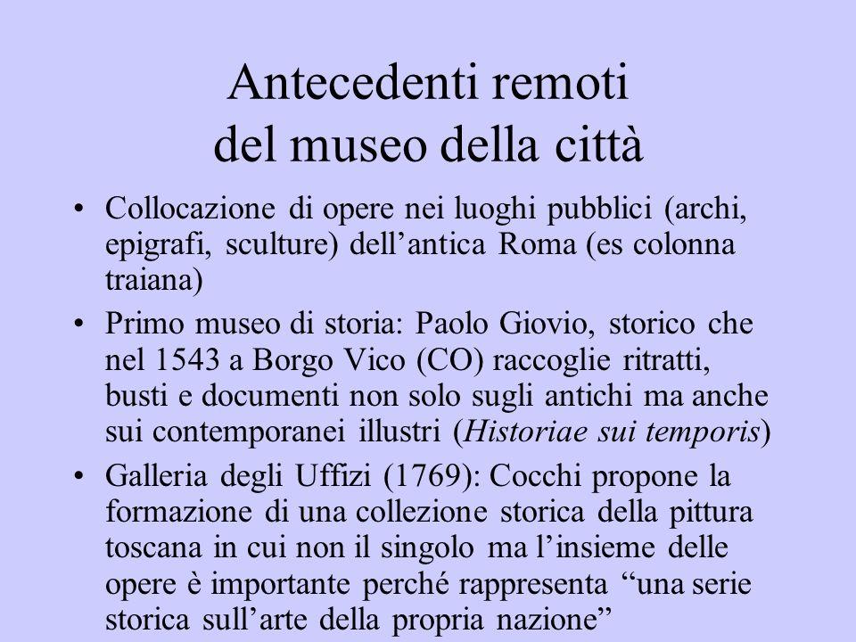Antecedenti remoti del museo della città Collocazione di opere nei luoghi pubblici (archi, epigrafi, sculture) dellantica Roma (es colonna traiana) Pr