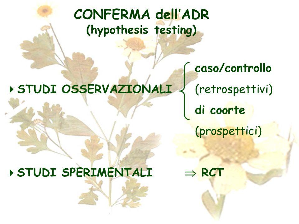 CONFERMA dellADR (hypothesis testing) caso/controllo STUDI OSSERVAZIONALI (retrospettivi) di coorte (prospettici) STUDI SPERIMENTALI RCT