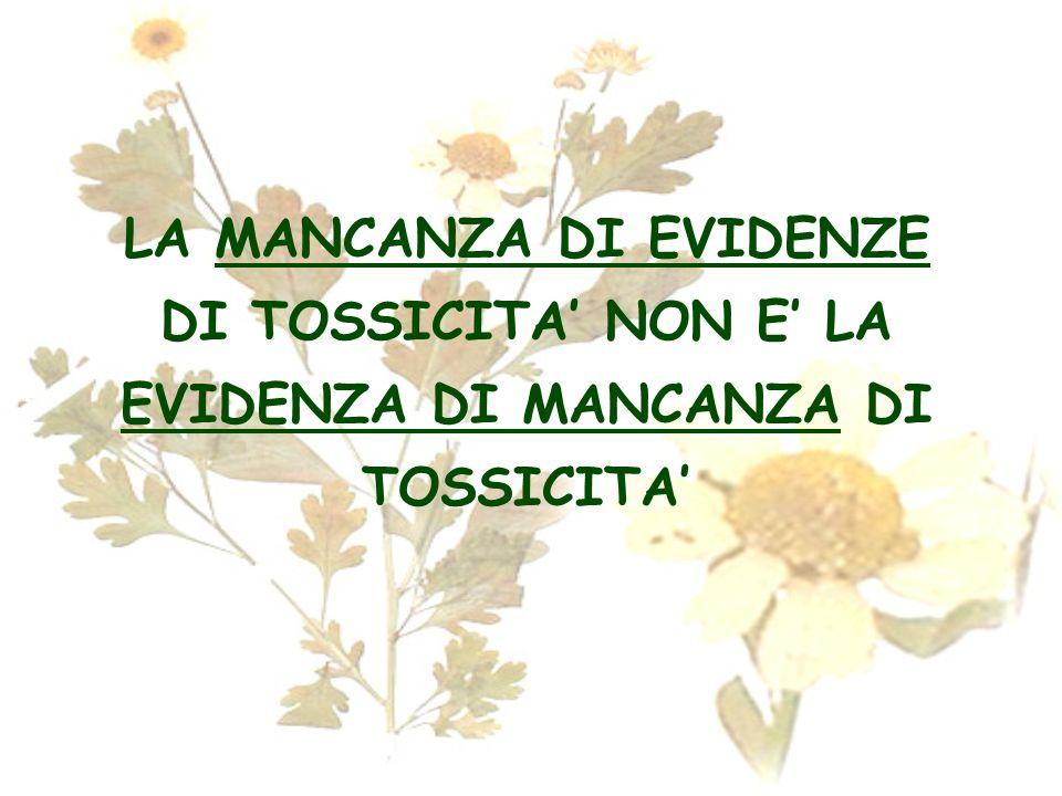 LA MANCANZA DI EVIDENZE DI TOSSICITA NON E LA EVIDENZA DI MANCANZA DI TOSSICITA