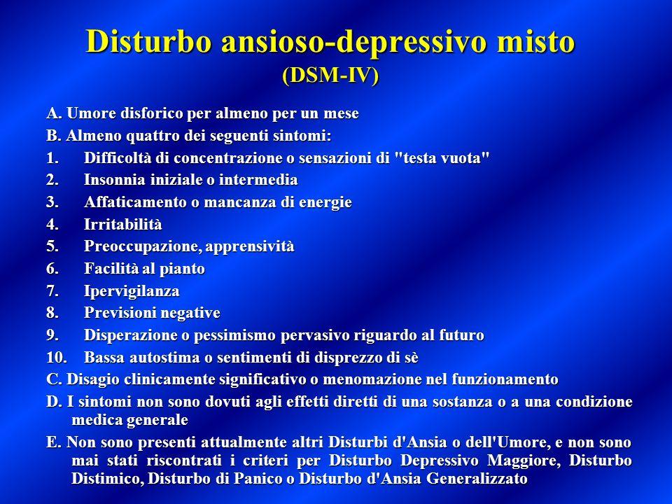 Disturbo ansioso-depressivo misto (DSM-IV) A. Umore disforico per almeno per un mese A. Umore disforico per almeno per un mese B. Almeno quattro dei s