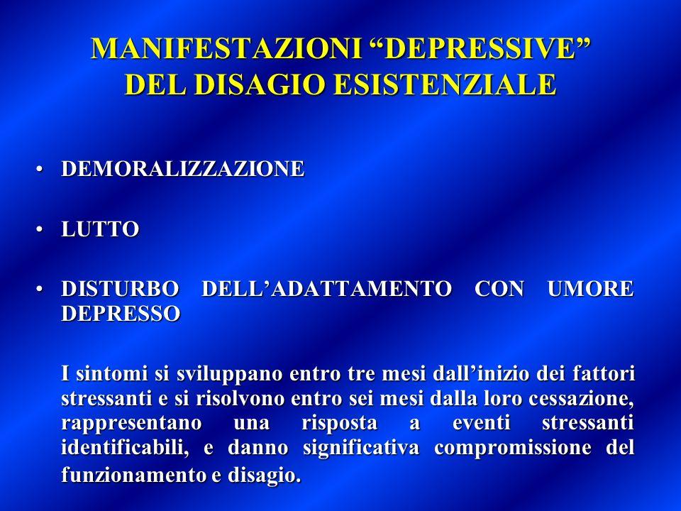 MANIFESTAZIONI DEPRESSIVE DEL DISAGIO ESISTENZIALE DEMORALIZZAZIONEDEMORALIZZAZIONE LUTTOLUTTO DISTURBO DELLADATTAMENTO CON UMORE DEPRESSODISTURBO DEL