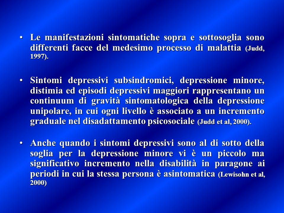 Le manifestazioni sintomatiche sopra e sottosoglia sono differenti facce del medesimo processo di malattia (Judd, 1997).Le manifestazioni sintomatiche