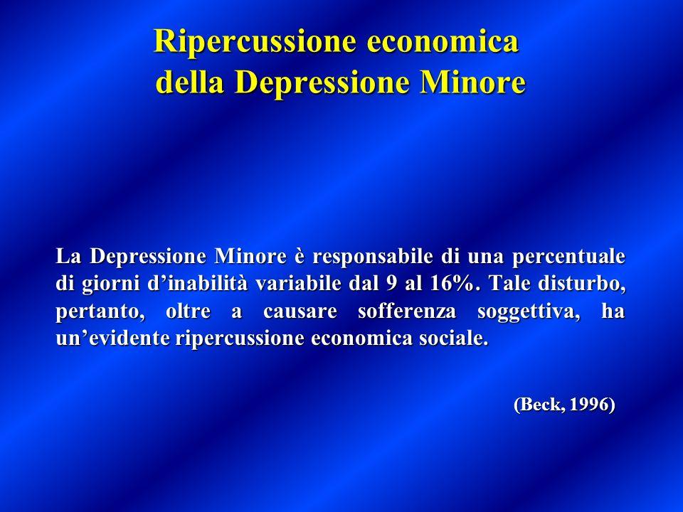 Ripercussione economica della Depressione Minore La Depressione Minore è responsabile di una percentuale di giorni dinabilità variabile dal 9 al 16%.