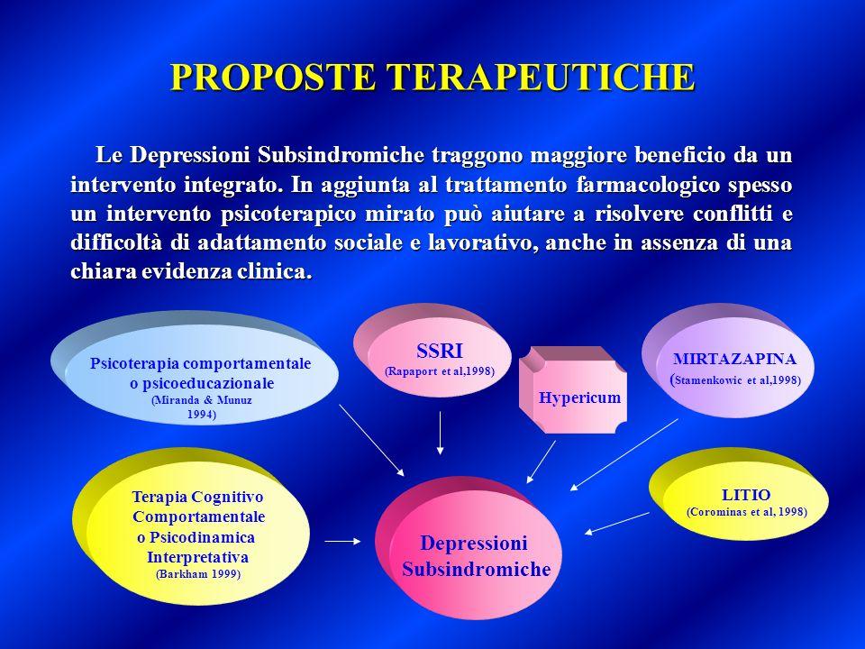 PROPOSTE TERAPEUTICHE Le Depressioni Subsindromiche traggono maggiore beneficio da un intervento integrato. In aggiunta al trattamento farmacologico s