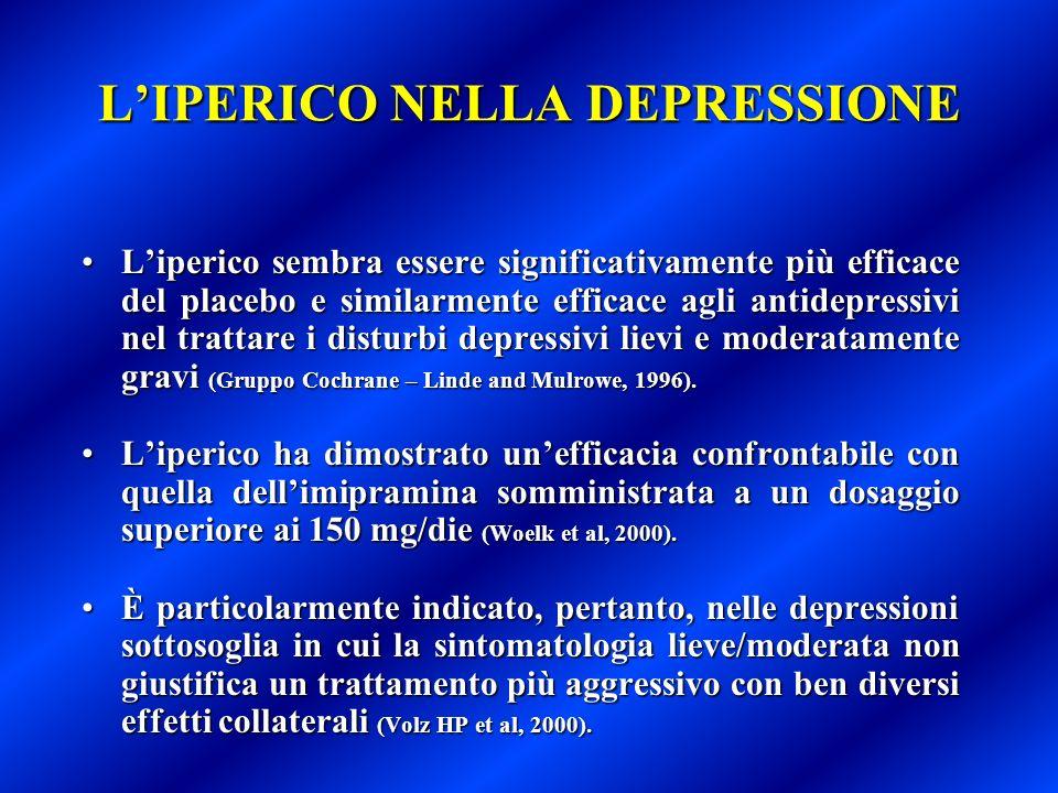 LIPERICO NELLA DEPRESSIONE Liperico sembra essere significativamente più efficace del placebo e similarmente efficace agli antidepressivi nel trattare