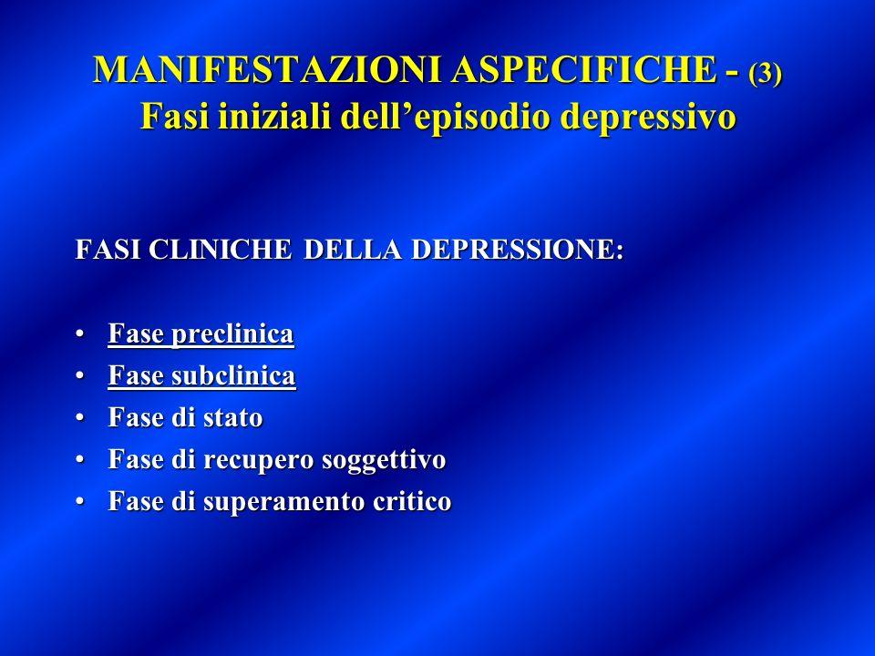 MANIFESTAZIONI ASPECIFICHE - (3) Fasi iniziali dellepisodio depressivo FASI CLINICHE DELLA DEPRESSIONE: Fase preclinicaFase preclinica Fase subclinica