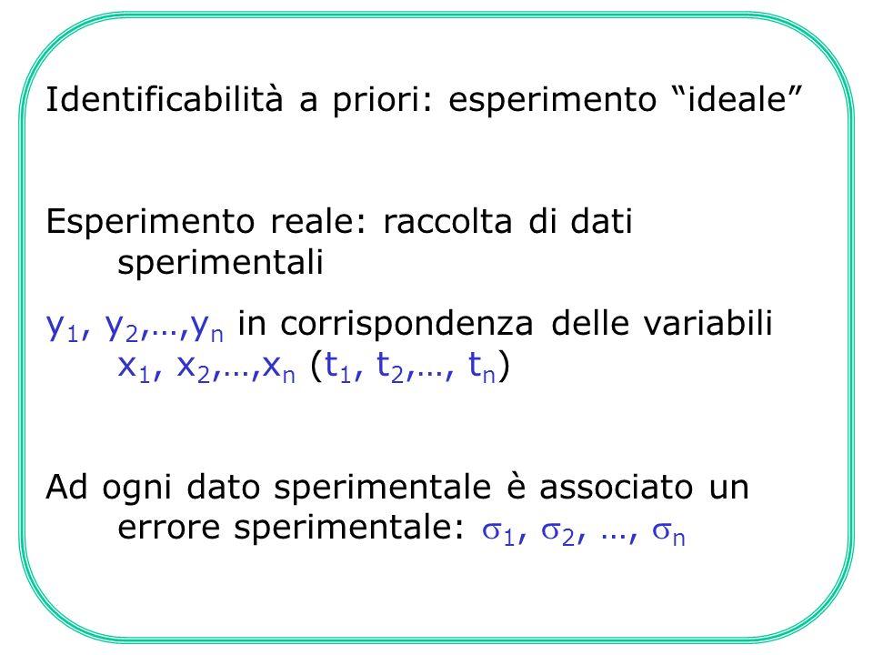 Identificabilità a priori: esperimento ideale Esperimento reale: raccolta di dati sperimentali y 1, y 2,…,y n in corrispondenza delle variabili x 1, x