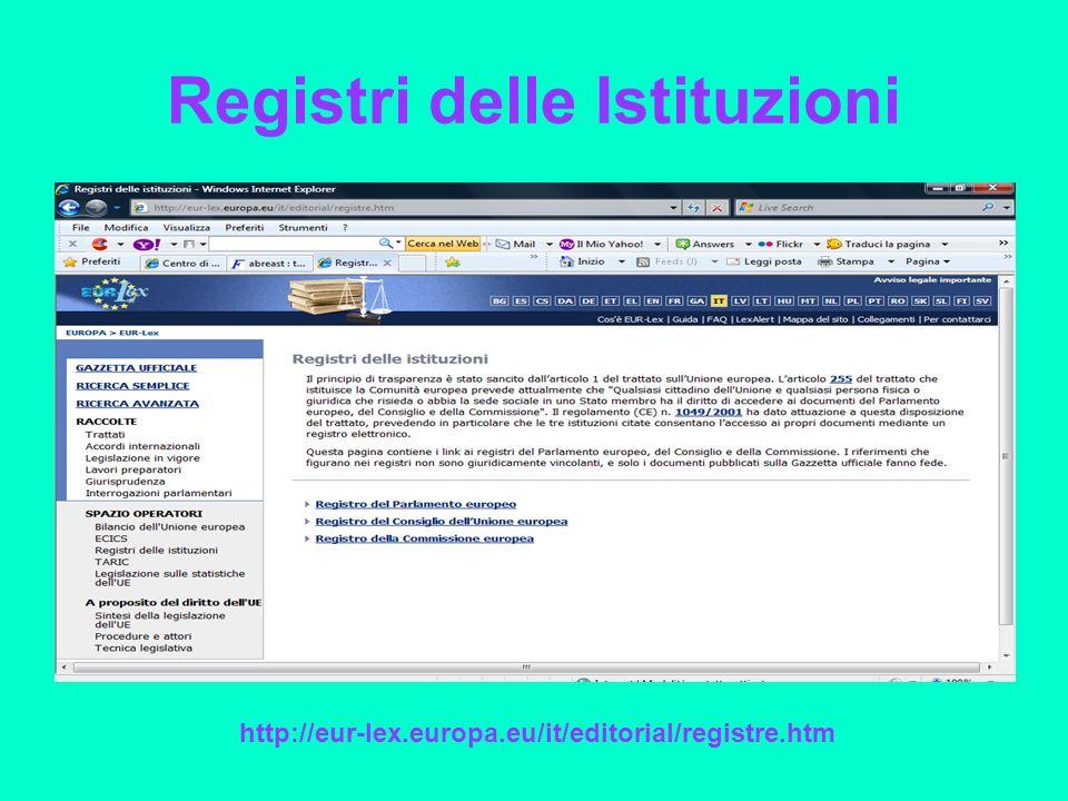 Registri delle Istituzioni http://eur-lex.europa.eu/it/editorial/registre.htm