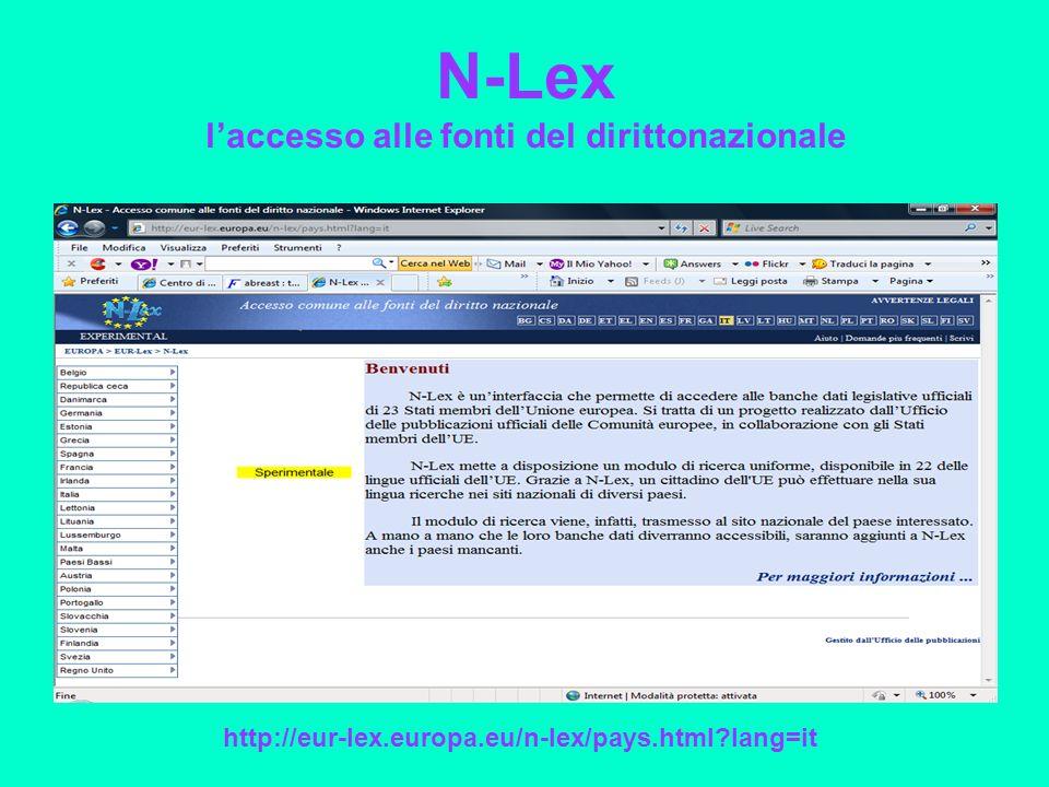N-Lex laccesso alle fonti del dirittonazionale http://eur-lex.europa.eu/n-lex/pays.html lang=it
