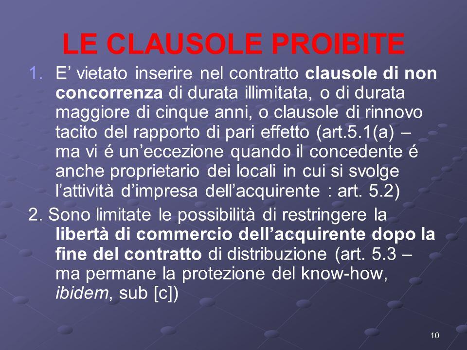 10 LE CLAUSOLE PROIBITE 1.