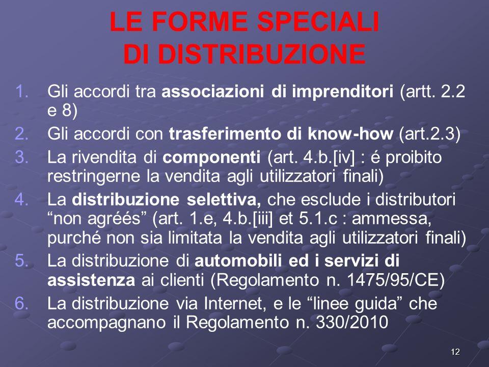 12 LE FORME SPECIALI DI DISTRIBUZIONE 1. 1.Gli accordi tra associazioni di imprenditori (artt.