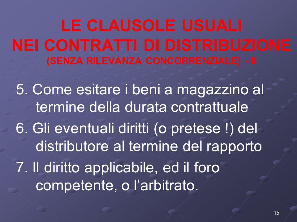 15 LE CLAUSOLE USUALI NEI CONTRATTI DI DISTRIBUZIONE (SENZA RILEVANZA CONCORRENZIALE) - II 5.