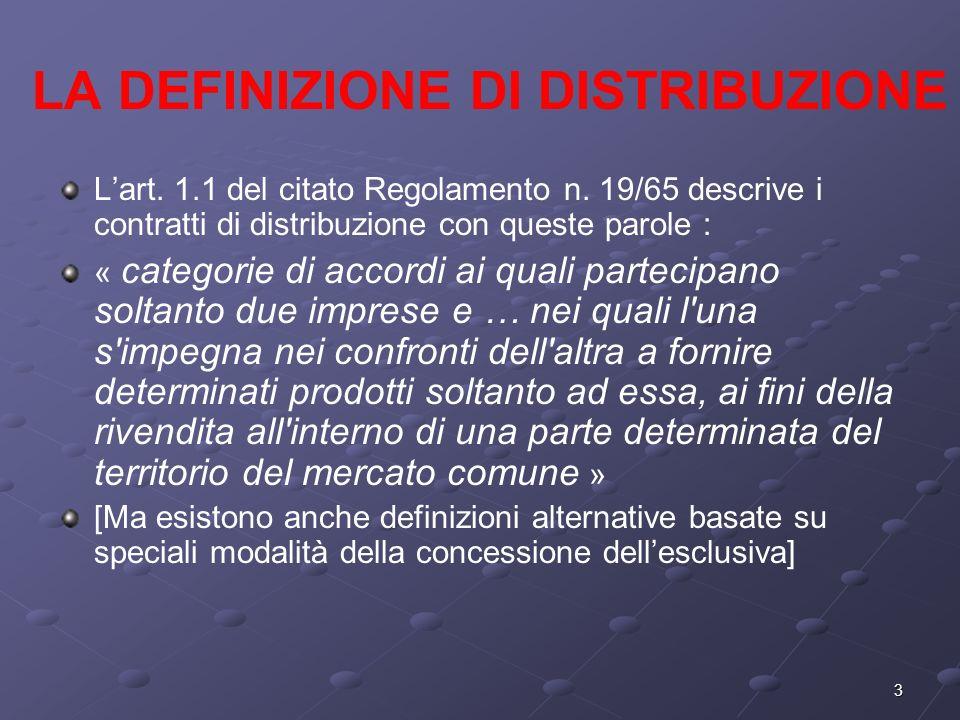3 LA DEFINIZIONE DI DISTRIBUZIONE Lart. 1.1 del citato Regolamento n.