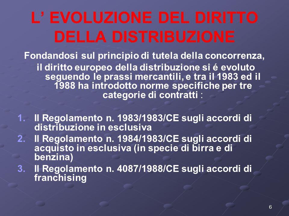 6 L EVOLUZIONE DEL DIRITTO DELLA DISTRIBUZIONE Fondandosi sul principio di tutela della concorrenza, il diritto europeo della distribuzione si é evoluto seguendo le prassi mercantili, e tra il 1983 ed il 1988 ha introdotto norme specifiche per tre categorie di contratti : 1.