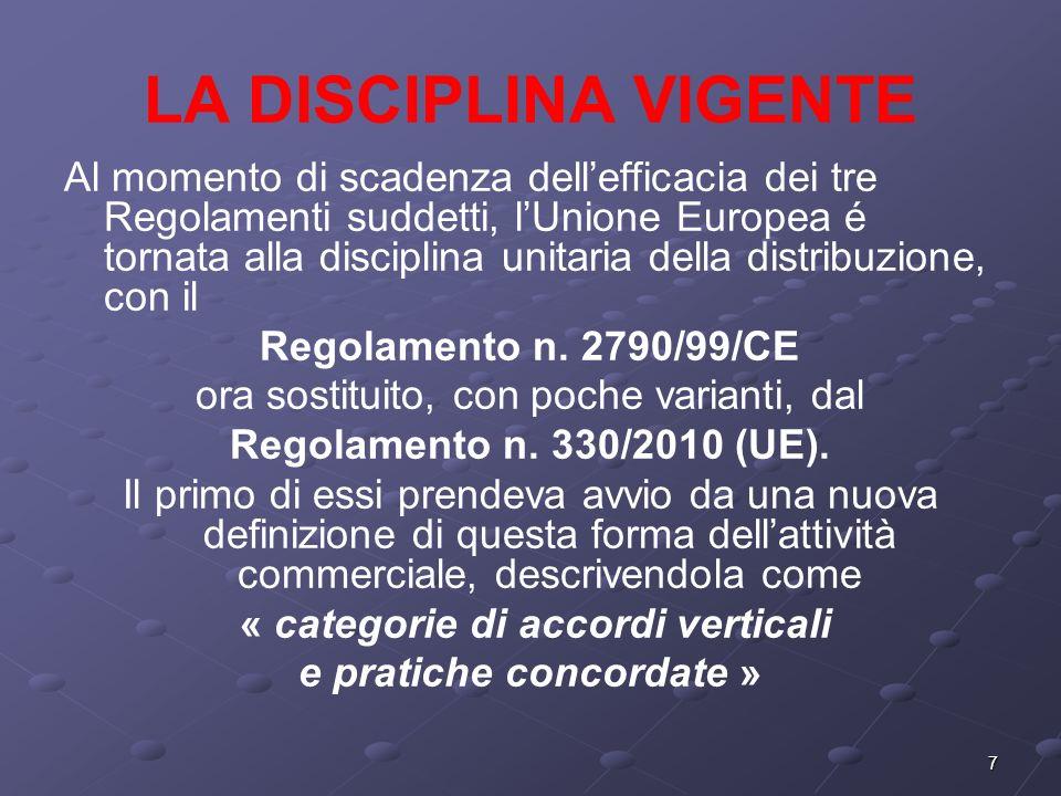 7 LA DISCIPLINA VIGENTE Al momento di scadenza dellefficacia dei tre Regolamenti suddetti, lUnione Europea é tornata alla disciplina unitaria della distribuzione, con il Regolamento n.