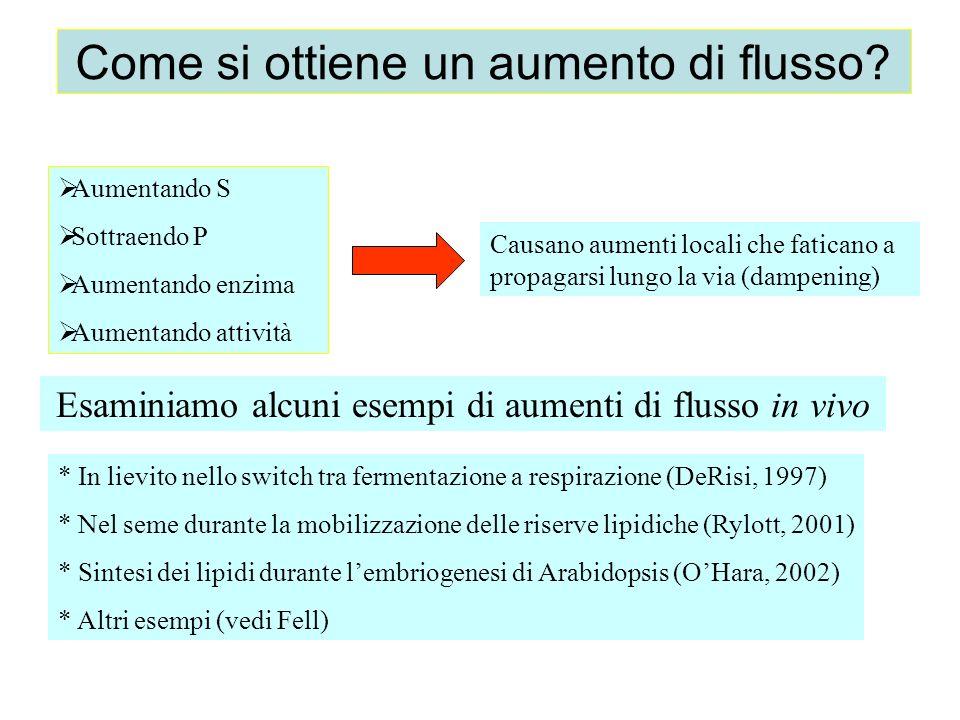 Come si ottiene un aumento di flusso? * In lievito nello switch tra fermentazione a respirazione (DeRisi, 1997) * Nel seme durante la mobilizzazione d