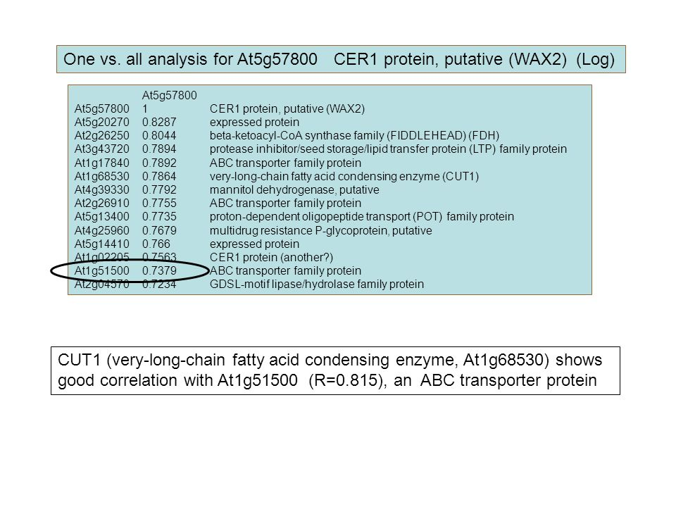 At5g57800 At5g578001CER1 protein, putative (WAX2) At5g202700.8287expressed protein At2g262500.8044beta-ketoacyl-CoA synthase family (FIDDLEHEAD) (FDH)