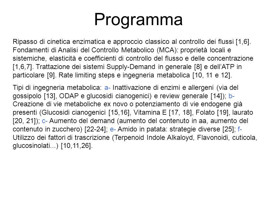 Programma Ripasso di cinetica enzimatica e approccio classico al controllo dei flussi [1,6]. Fondamenti di Analisi del Controllo Metabolico (MCA): pro