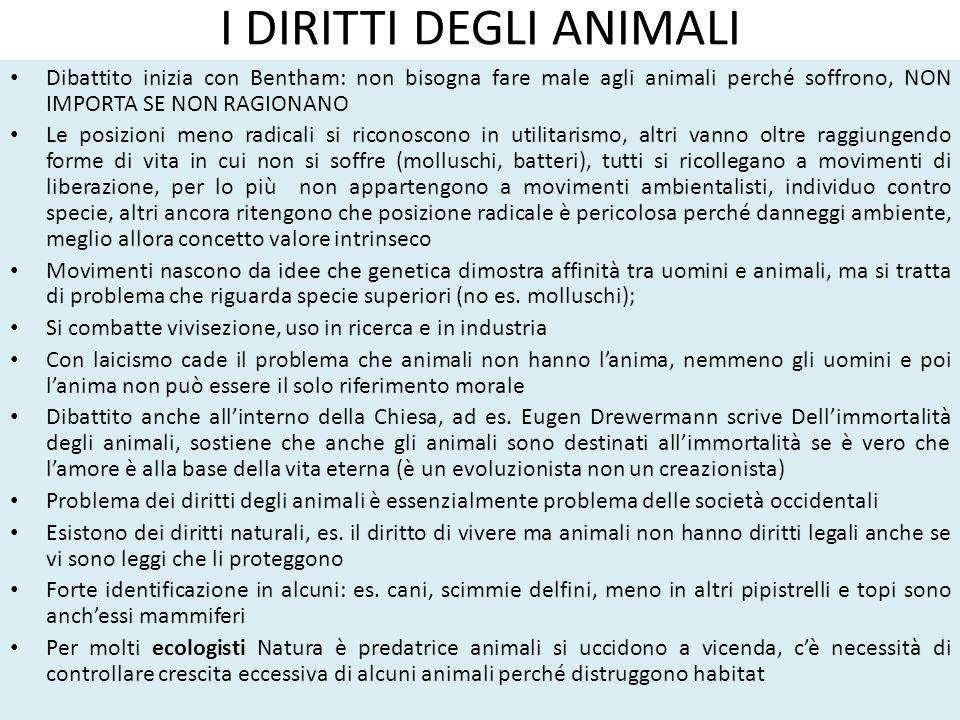 I DIRITTI DEGLI ANIMALI Dibattito inizia con Bentham: non bisogna fare male agli animali perché soffrono, NON IMPORTA SE NON RAGIONANO Le posizioni me