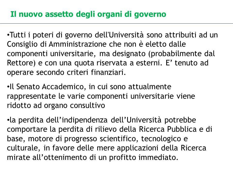 Il nuovo assetto degli organi di governo Tutti i poteri di governo dell'Università sono attribuiti ad un Consiglio di Amministrazione che non è eletto
