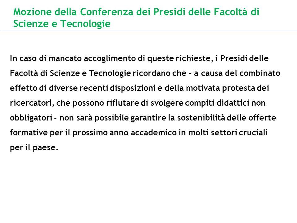 Mozione della Conferenza dei Presidi delle Facoltà di Scienze e Tecnologie In caso di mancato accoglimento di queste richieste, i Presidi delle Facolt