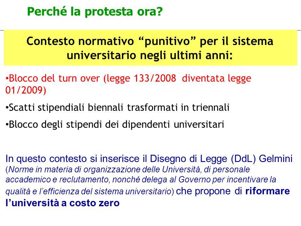 Perché la protesta ora? Contesto normativo punitivo per il sistema universitario negli ultimi anni: Blocco del turn over (legge 133/2008 diventata leg