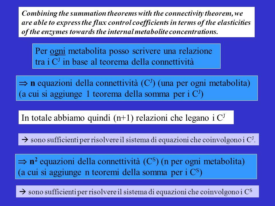 Per ogni metabolita posso scrivere una relazione tra i C J in base al teorema della connettività n equazioni della connettività (C J ) (una per ogni metabolita) (a cui si aggiunge 1 teorema della somma per i C J ) sono sufficienti per risolvere il sistema di equazioni che coinvolgono i C J.