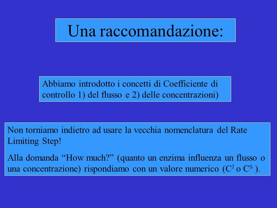 Una raccomandazione: Abbiamo introdotto i concetti di Coefficiente di controllo 1) del flusso e 2) delle concentrazioni) Non torniamo indietro ad usare la vecchia nomenclatura del Rate Limiting Step.