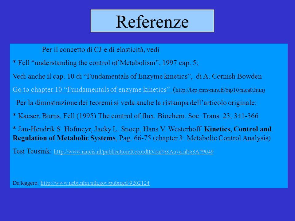 Referenze Per il concetto di CJ e di elasticità, vedi * Fell understanding the control of Metabolism, 1997 cap.