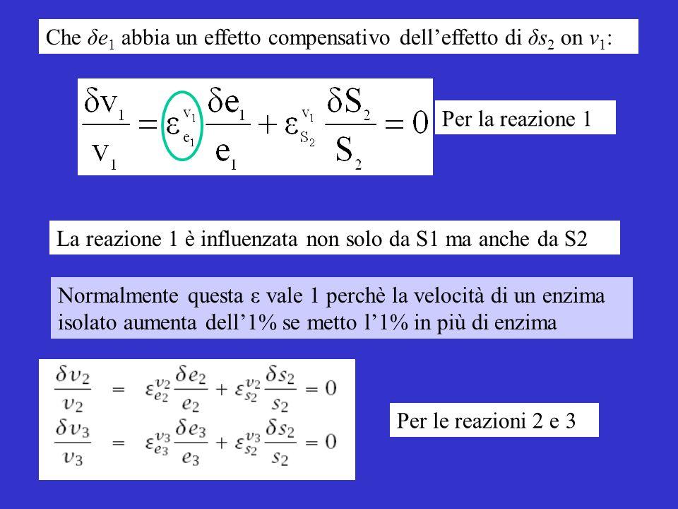 Per la reazione 1 Per le reazioni 2 e 3 Normalmente questa ε vale 1 perchè la velocità di un enzima isolato aumenta dell1% se metto l1% in più di enzima La reazione 1 è influenzata non solo da S1 ma anche da S2 Che δe 1 abbia un effetto compensativo delleffetto di δs 2 on v 1 :