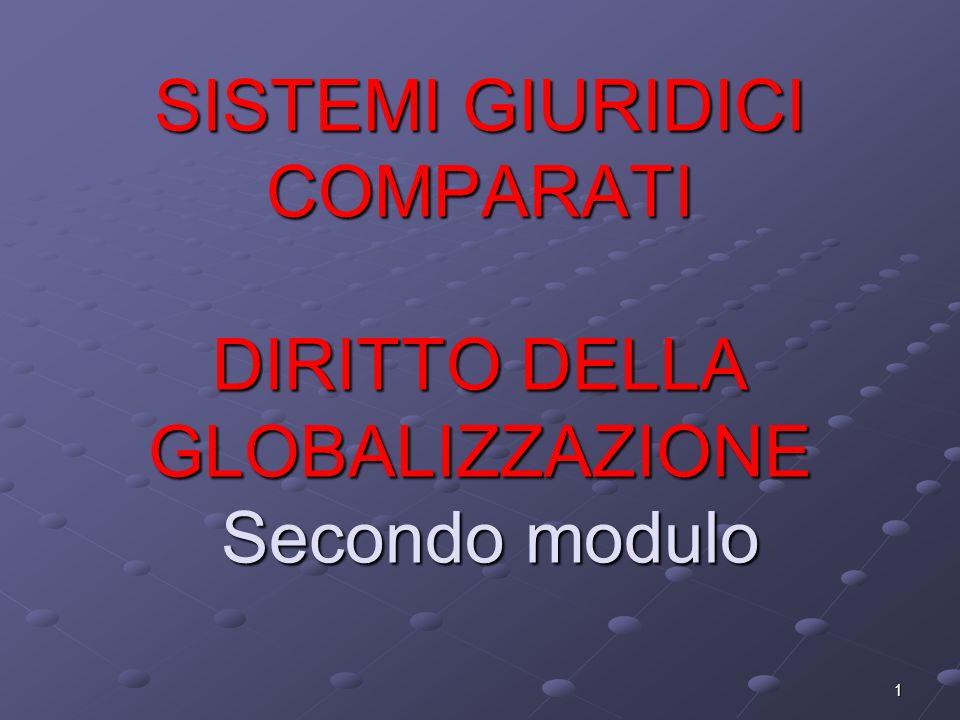 1 SISTEMI GIURIDICI COMPARATI DIRITTO DELLA GLOBALIZZAZIONE Secondo modulo