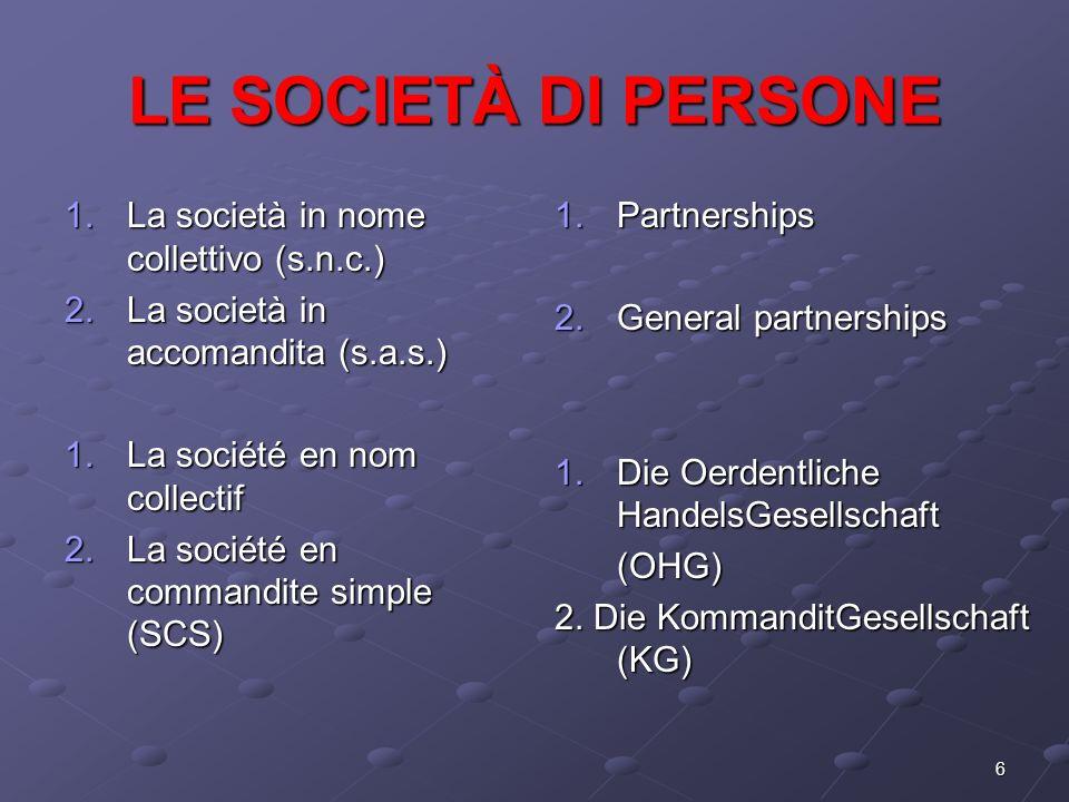 6 LE SOCIETÀ DI PERSONE 1.La società in nome collettivo (s.n.c.) 2.La società in accomandita (s.a.s.) 1.La société en nom collectif 2.La société en co