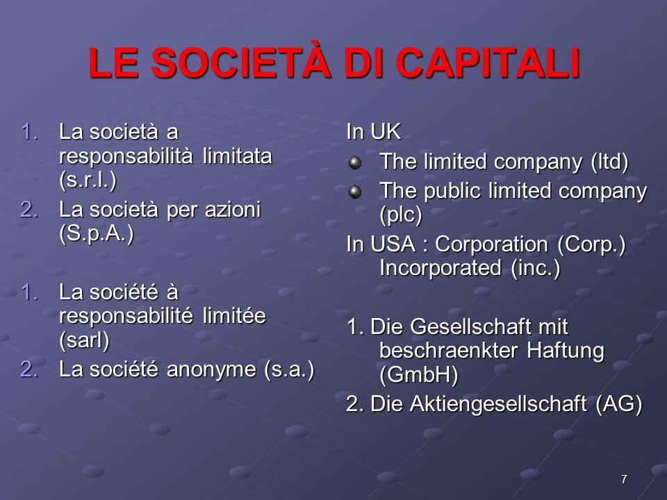 7 LE SOCIETÀ DI CAPITALI 1.La società a responsabilità limitata (s.r.l.) 2.La società per azioni (S.p.A.) 1.La société à responsabilité limitée (sarl)