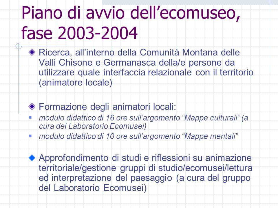 Piano davvio dellecomuseo, fase 2004-2005 La seconda fase prevede invece la sperimentazione ristretta.