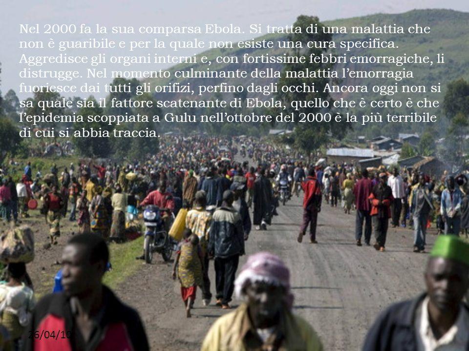 26/04/10 Nel 2000 fa la sua comparsa Ebola. Si tratta di una malattia che non è guaribile e per la quale non esiste una cura specifica. Aggredisce gli