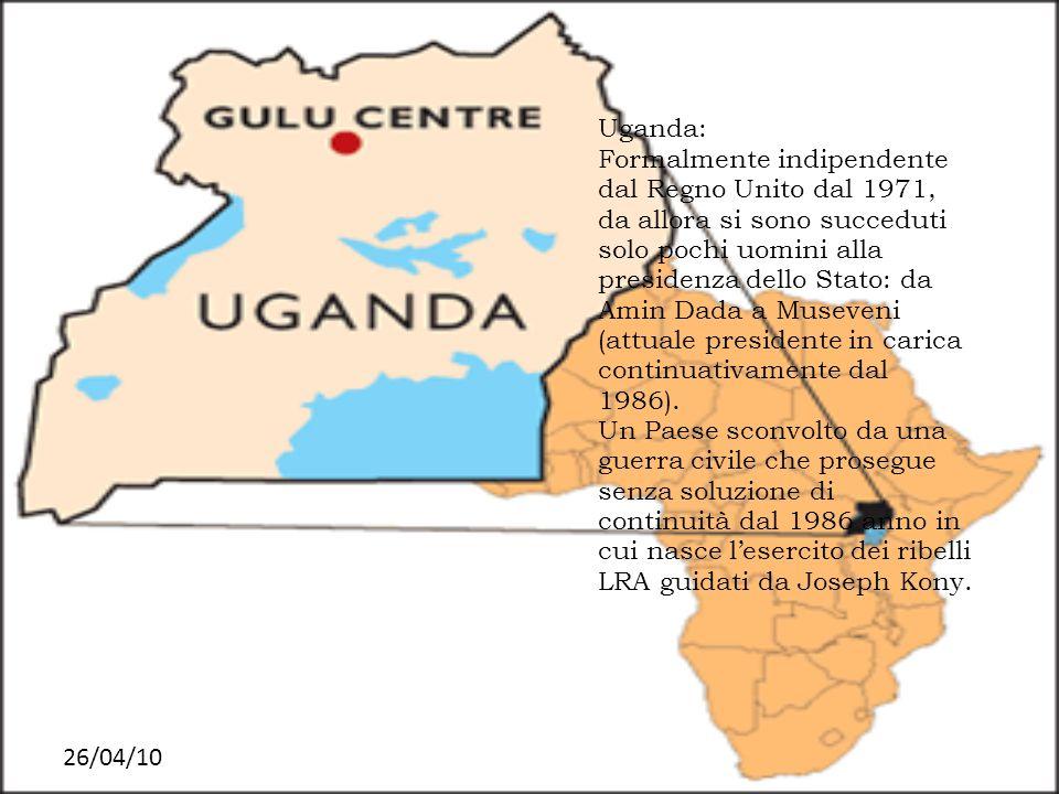 26/04/10 Uganda: Formalmente indipendente dal Regno Unito dal 1971, da allora si sono succeduti solo pochi uomini alla presidenza dello Stato: da Amin