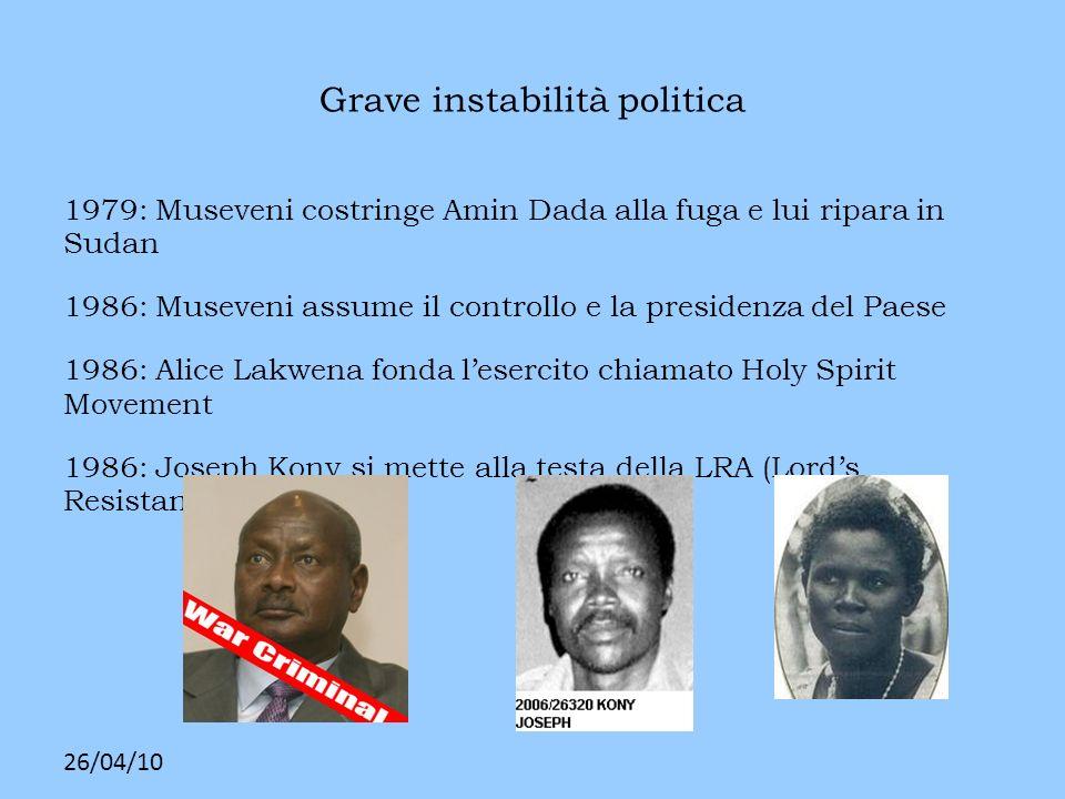 26/04/10 Grave instabilità politica 1979: Museveni costringe Amin Dada alla fuga e lui ripara in Sudan 1986: Museveni assume il controllo e la preside
