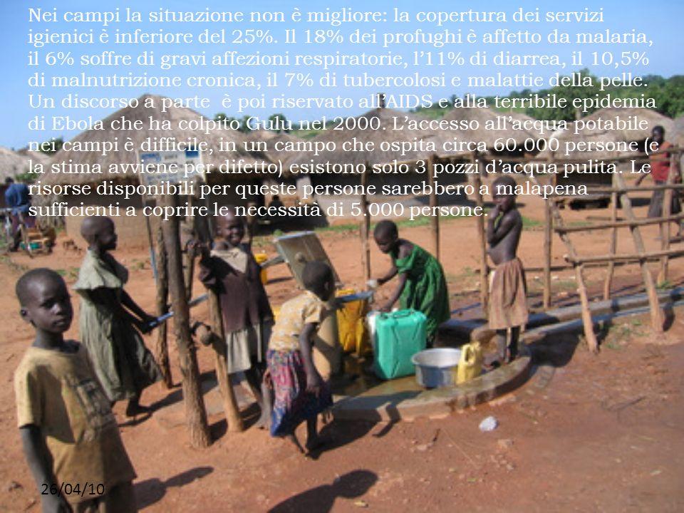 26/04/10 Nei campi la situazione non è migliore: la copertura dei servizi igienici è inferiore del 25%. Il 18% dei profughi è affetto da malaria, il 6