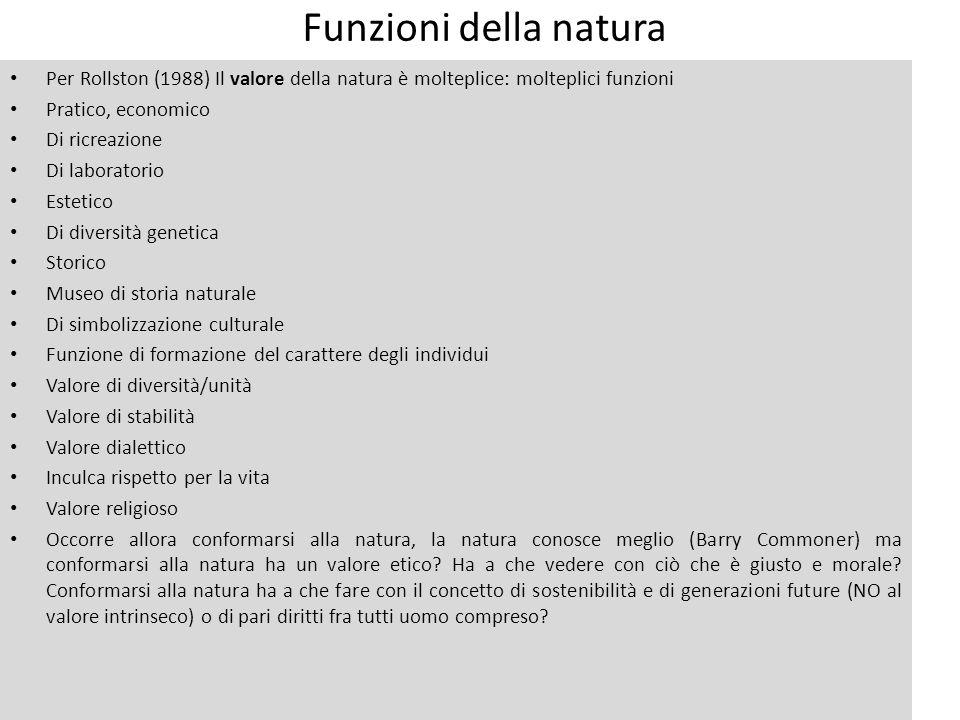 Funzioni della natura Per Rollston (1988) Il valore della natura è molteplice: molteplici funzioni Pratico, economico Di ricreazione Di laboratorio Es