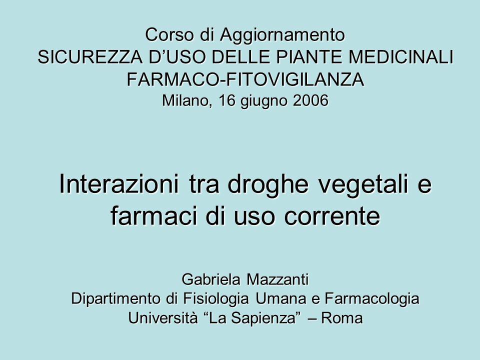 Corso di Aggiornamento SICUREZZA DUSO DELLE PIANTE MEDICINALI FARMACO-FITOVIGILANZA Milano, 16 giugno 2006 Interazioni tra droghe vegetali e farmaci d