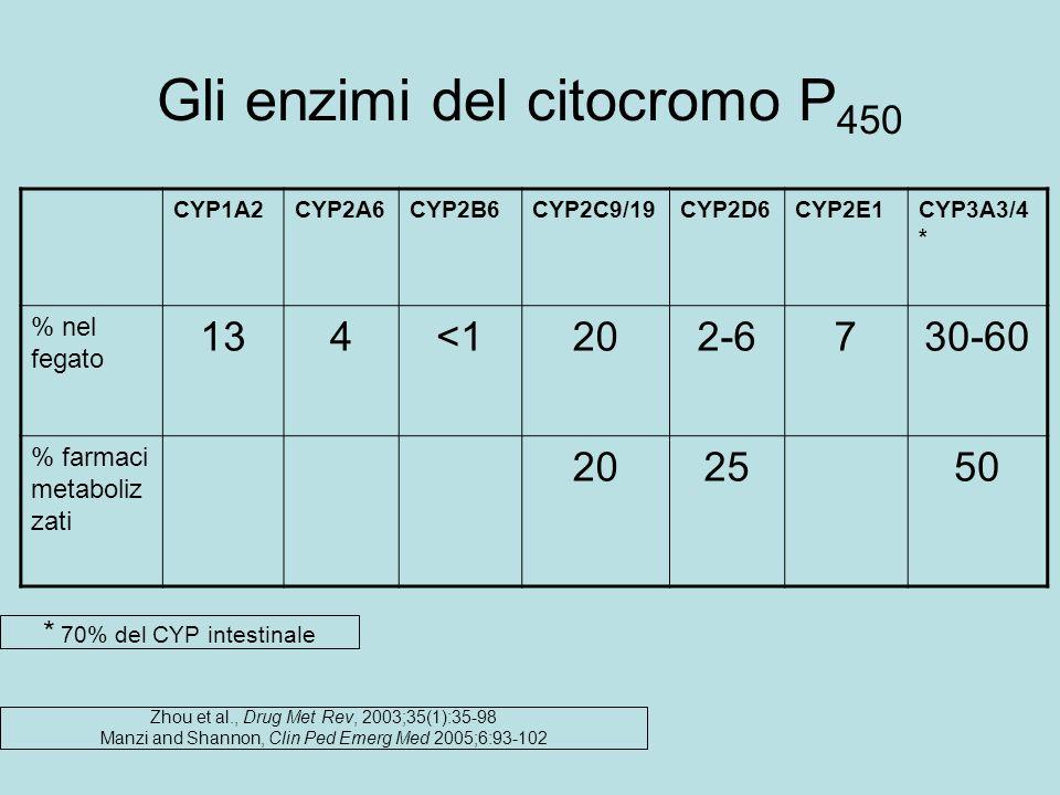 Gli enzimi del citocromo P 450 CYP1A2CYP2A6CYP2B6CYP2C9/19CYP2D6CYP2E1CYP3A3/4 * % nel fegato 134<1202-6730-60 % farmaci metaboliz zati 202550 Zhou et