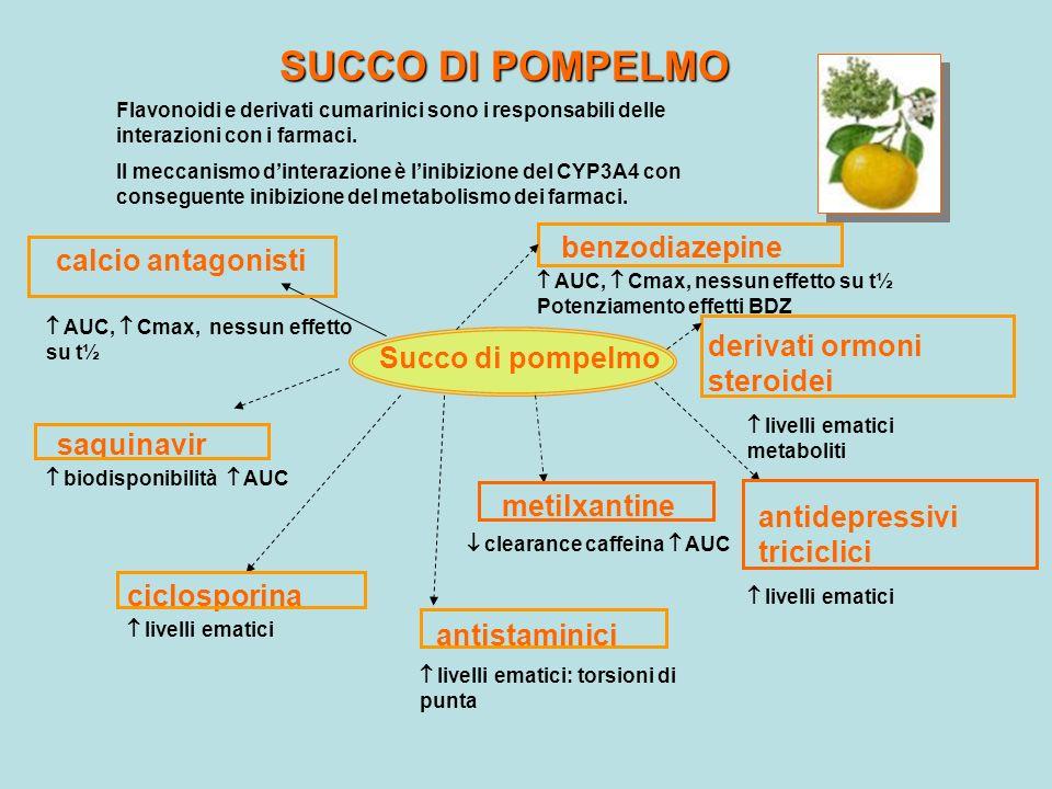 SUCCO DI POMPELMO Flavonoidi e derivati cumarinici sono i responsabili delle interazioni con i farmaci. Il meccanismo dinterazione è linibizione del C