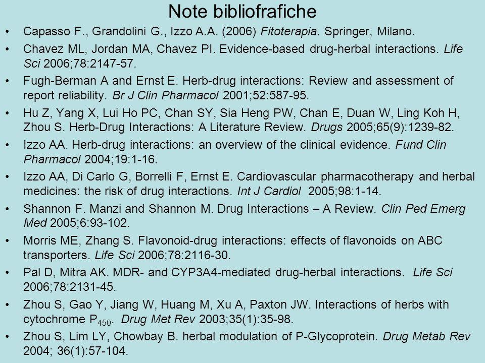 Note bibliofrafiche Capasso F., Grandolini G., Izzo A.A. (2006) Fitoterapia. Springer, Milano. Chavez ML, Jordan MA, Chavez PI. Evidence-based drug-he