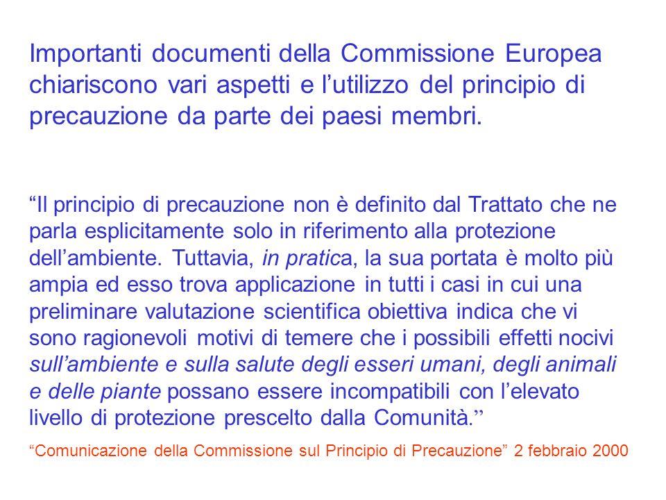 Importanti documenti della Commissione Europea chiariscono vari aspetti e lutilizzo del principio di precauzione da parte dei paesi membri. Il princip