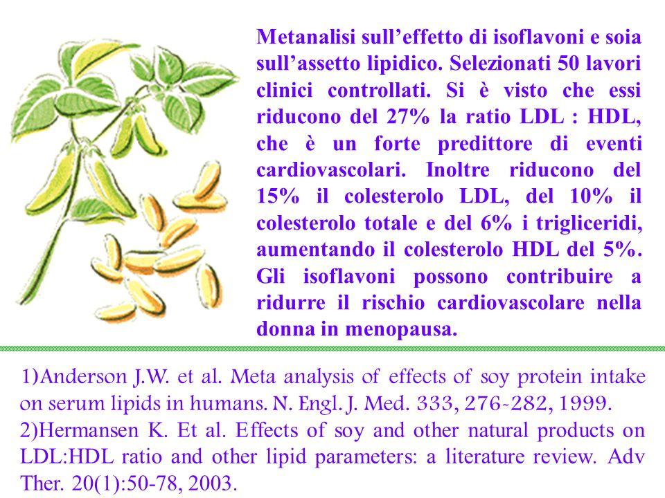 Metanalisi sulleffetto di isoflavoni e soia sullassetto lipidico. Selezionati 50 lavori clinici controllati. Si è visto che essi riducono del 27% la r