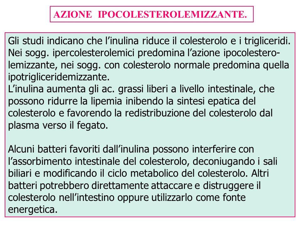 AZIONE IPOCOLESTEROLEMIZZANTE. Gli studi indicano che linulina riduce il colesterolo e i trigliceridi. Nei sogg. ipercolesterolemici predomina lazione