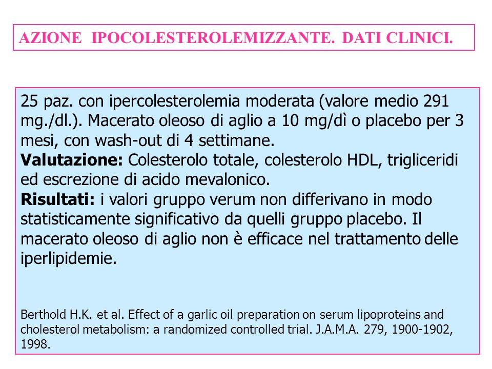 AZIONE IPOCOLESTEROLEMIZZANTE. DATI CLINICI. 25 paz. con ipercolesterolemia moderata (valore medio 291 mg./dl.). Macerato oleoso di aglio a 10 mg/dì o