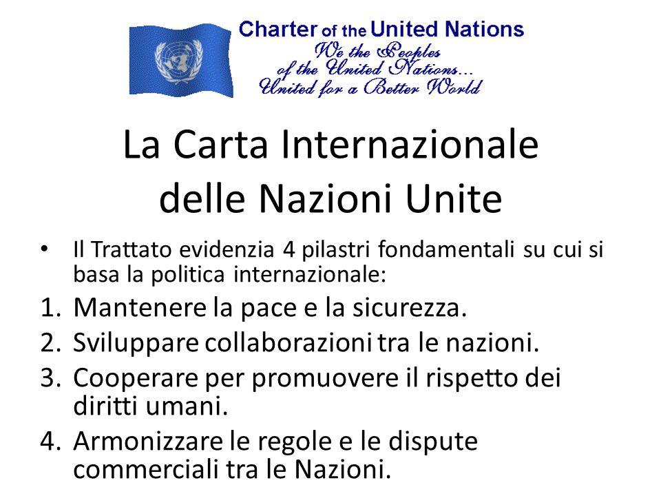 La Carta Internazionale delle Nazioni Unite Il Trattato evidenzia 4 pilastri fondamentali su cui si basa la politica internazionale: 1.Mantenere la pace e la sicurezza.
