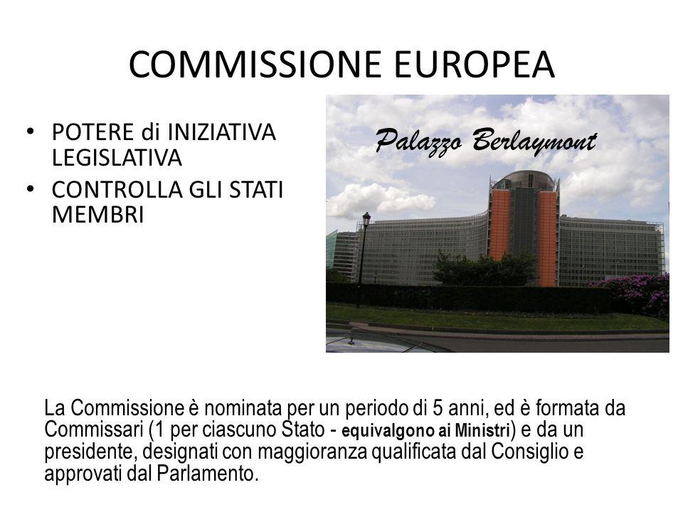 COMMISSIONE EUROPEA POTERE di INIZIATIVA LEGISLATIVA CONTROLLA GLI STATI MEMBRI La Commissione è nominata per un periodo di 5 anni, ed è formata da Commissari (1 per ciascuno Stato - equivalgono ai Ministri ) e da un presidente, designati con maggioranza qualificata dal Consiglio e approvati dal Parlamento.